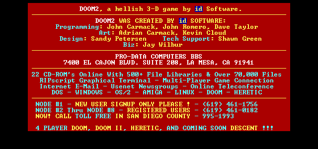 Pro-Data DeathMatch Wad #1 For DOOM ][ - d_pdata1 wad - Wad Archive